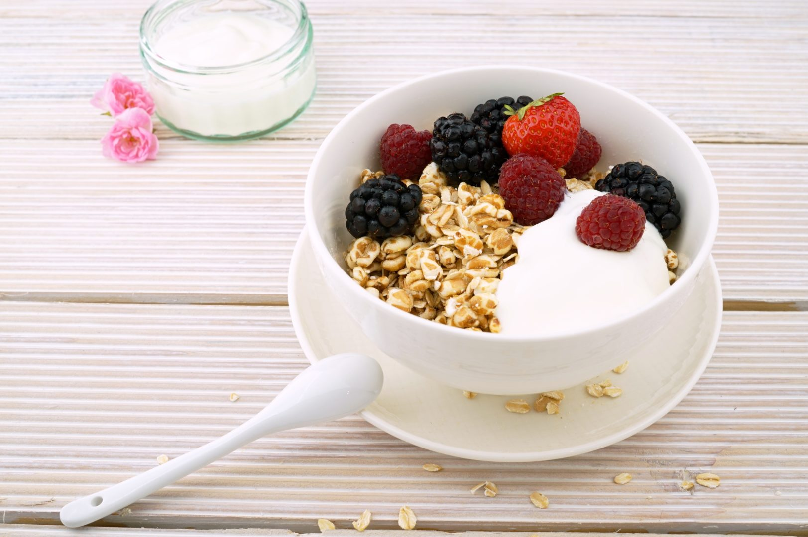 Cup of yogurt with berries and granola