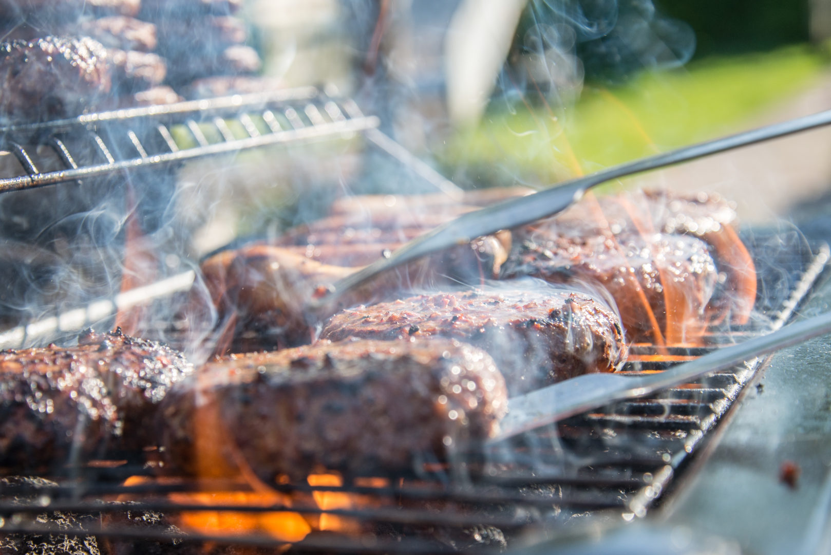 Beef cooking on barbeque