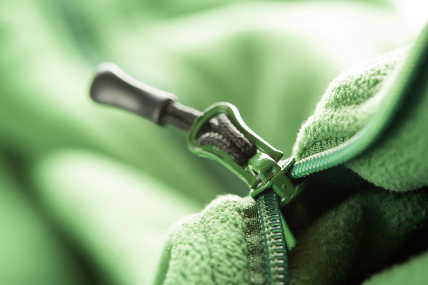 Close up of zipper on fleece sweater