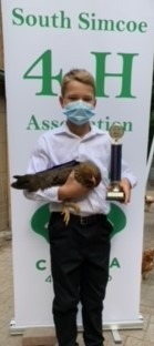 Member with his 4-H brown leghorn pullet
