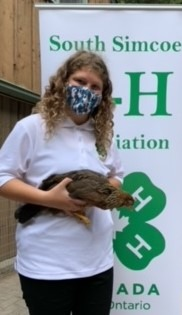 Member with her 4-H brown leghorn pullet